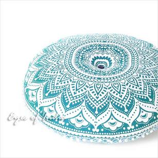 Green Colorful Ombre Decorative Round Meditation Floor Pillow Cover 32 ""