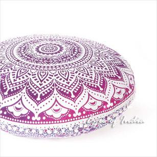 Pink Round Ombre Floor Pillow Cover Throw Mandala Hippie Bohemian Beach boho dog bed - 32""