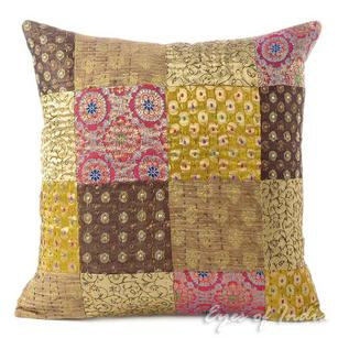 Brown Kantha Brocade Boho Bohemian Throw Sofa Couch Cushion Pillow Cover - 16""