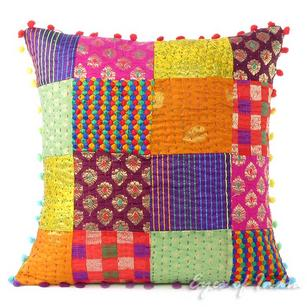 Colorful Vintage Kantha Brocade Throw Sofa Cushion Boho Couch Pillow Cover - 16, 20""