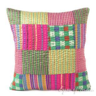 "Colorful Brocade Kantha Throw Boho Bohemian Sofa Couch Cushion Pillow Cover - 16"""
