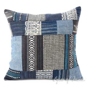 Blue Patchwork Decorative Dhurrie Throw Sofa Cushion Pillow Boho Bohemian Cover - 16""