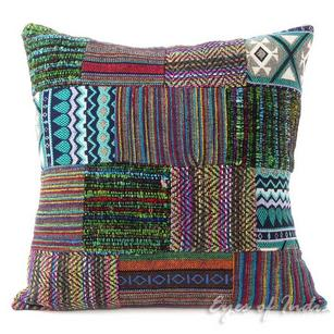 Purple Dhurrie Patchwork Decorative Bohemian Throw Boho Cushion Pillow Cover - 16""
