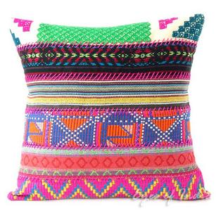 Pink Dhurrie Patchwork Throw Boho Bohemian Sofa Couch Cushion Pillow Cover - 16, 24""