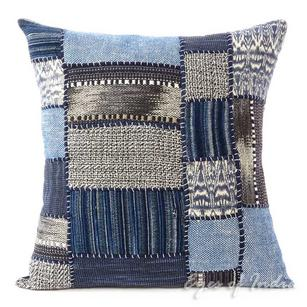 Indigo Blue Bohemian Boho Patchwork Pillow Cover Couch Cushion Sofa Colorful Throw - 16""