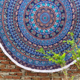 Blue Roundie Beach Throw Picnic Mat Spread Hippie Mandala Tapestry Bohemian  Boho - 80""
