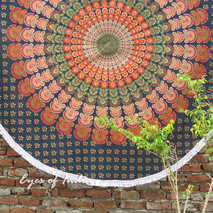 Green Roundie Beach Throw Picnic Mat Spread Hippie Mandala Tapestry Bohemian Boho - 80""