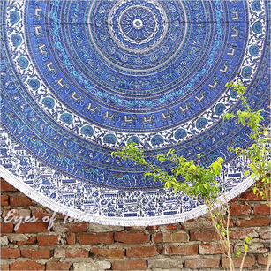 Blue Roundie Beach Throw Picnic Mat Spread Boho Bohemian Hippie Mandala Tapestry - 80""