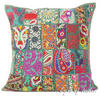 """Green Patchwork Decorative Bohemian Boho Pillow Couch Cushion Throw Cover - 20"""""""