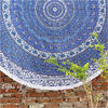 "Blue Roundie Beach Throw Picnic Mat Spread Boho Bohemian Hippie Mandala Tapestry - 80"" 1"