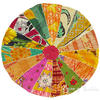 Colorful Boho Kantha Bohemian Round Floor Seating Pillow Meditation Cushion Throw Cover - 22""
