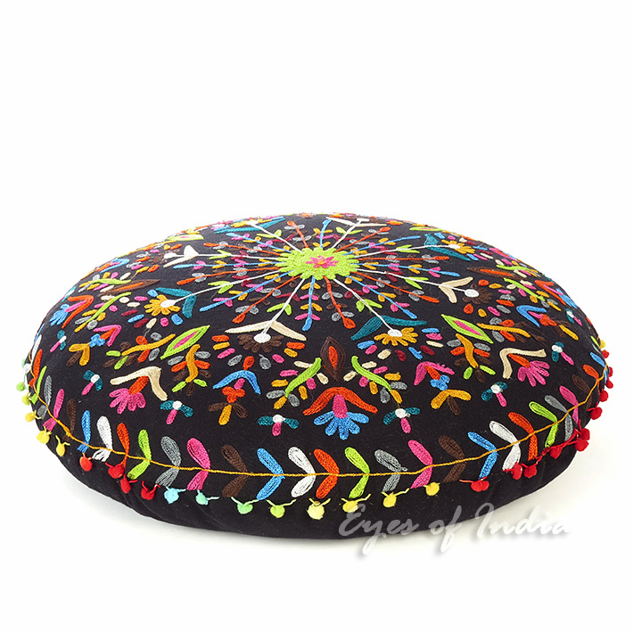 Black Boho Embroidered Round Bohemian Colorful Floor Seating Meditation Pillow Cushion Throw Cover - 24""