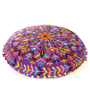 Purple Embroidered Bohemian Round Floor Decorative Seating Pillow Boho Meditation Cushion Cover - 24""