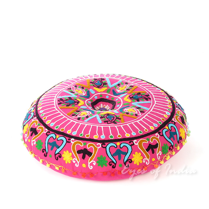 Pink Embroidered Round Decorative Seating Boho Colorful Floor Pillow Meditation Cushion Cover - 24""