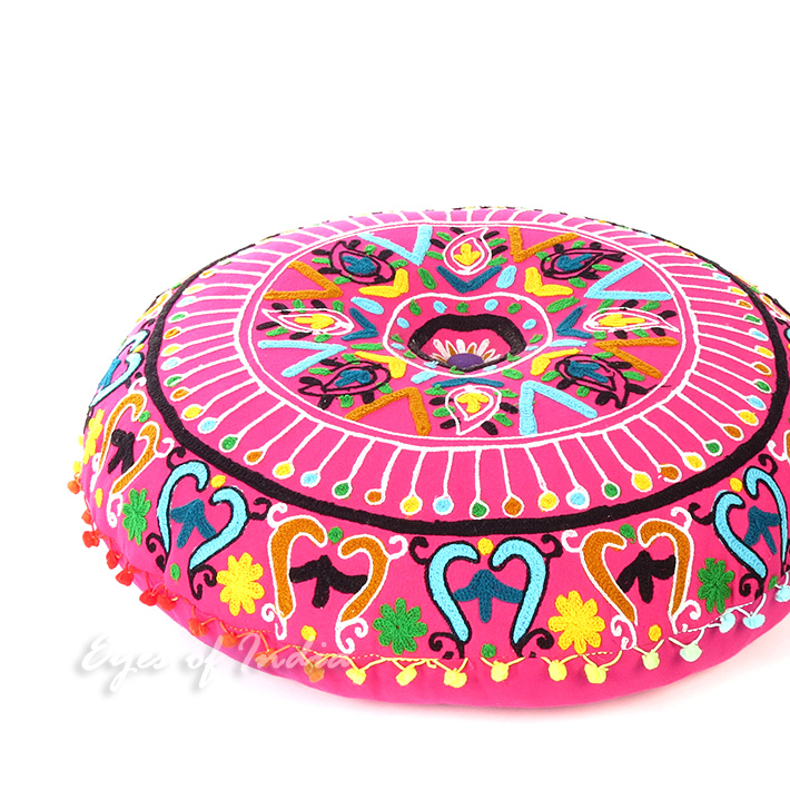 Pink Embroidered Round Decorative Seating Boho Floor Pillow Bohemian Meditation Cushion Cover ...