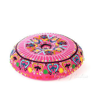 Pink Embroidered Round Decorative Seating Boho Floor Pillow Bohemian Meditation Cushion Cover - 24""