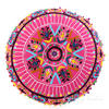 "Pink Embroidered Round Decorative Seating Boho Colorful Floor Pillow Meditation Cushion Cover - 24"" 4"