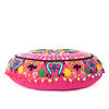 "Pink Embroidered Round Decorative Seating Boho Colorful Floor Pillow Meditation Cushion Cover - 24"" 2"
