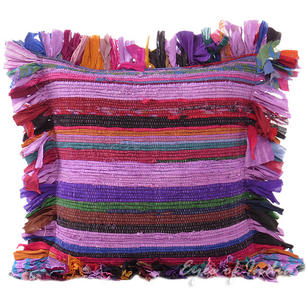 Purple Chindi Colorful Throw Pillow Couch Sofa Cushion Boho Rag Rug Bohemian Cover - 16""