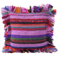 "Purple Chindi Colorful Throw Pillow Couch Sofa Cushion Boho Rag Rug Bohemian Cover - 16"" 1"