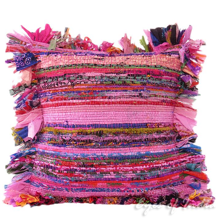 "Pink Chindi Colorful Decorative Boho Rag Rug Bohemian Sofa Throw Pillow Couch Cushion Cover - 16"""