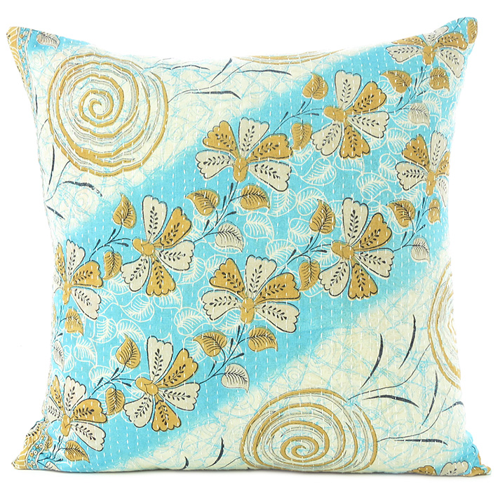 Colorful Kantha Decorative Throw Pillow Bohemian Boho Couch Cushion Cover -  18