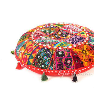 Red Gujarati Bohemian Patchwork Round Colorful Floor Seating Pillow Meditation Cushion Throw Cover - 17""