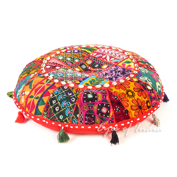 """Red Gujarati Boho Bohemian Patchwork Round Floor Seating Meditation Pillow Cushion Cover - 22"""""""