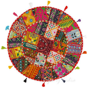 Red Gujarati Patchwork Round Boho Bohemian Colorful Floor Seating Pillow Meditation Cushion Cover - 28""