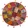 "Red Gujarati Patchwork Round Boho Bohemian Colorful Floor Seating Pillow Meditation Cushion Cover - 28"" 1"