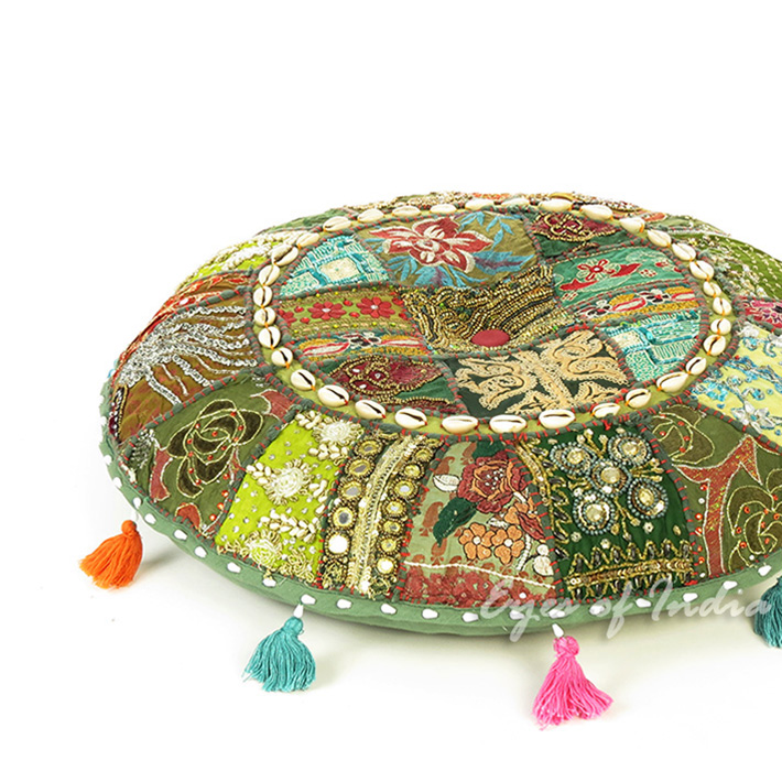 """Green Round Boho Decorative Seating Floor Cushion Bohemian Meditation Pillow Cover with Shells - 17"""""""