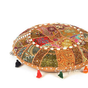 Light Brown Boho Patchwork Round Floor Seating Pillow Meditation Cushion Cover with Shells - 17""