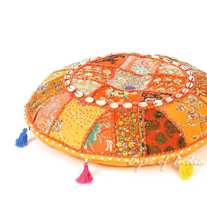 Orange Round Decorative Seating Bohemian Floor Cushion Boho Meditation Pillow Cover with Shells - 17""