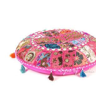 Pink Round Decorative Seating Boho Colorful Floor Meditation Cushion Pillow Cover with Shells - 17""