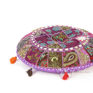 Purple Round Decorative Seating Boho Bohemian Floor Meditation Cushion Pillow Cover with Shells - 17""