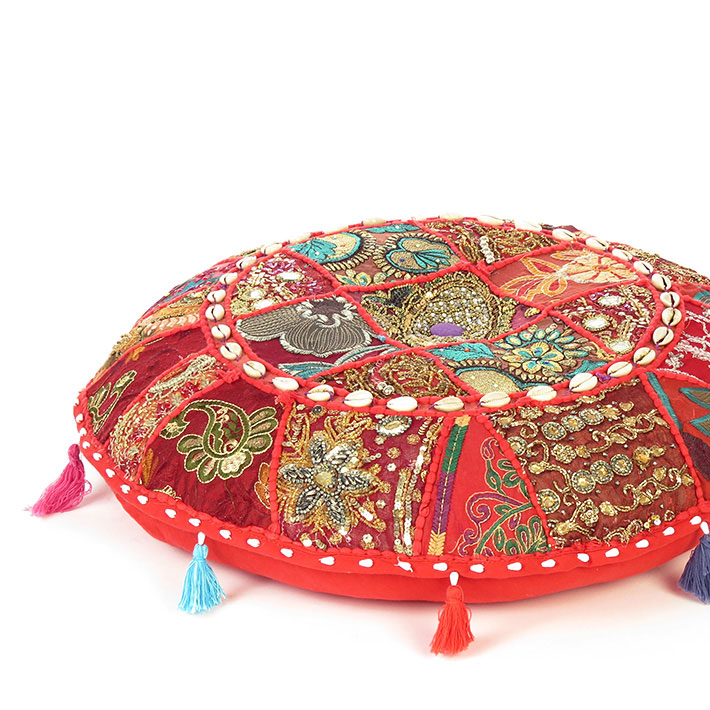 Red Round Boho Decorative Seating Colorful Floor Meditation Cushion Pillow Cover with Shells - 17""