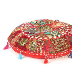 Red Round Boho Decorative Seating Bohemian Floor Meditation Cushion Pillow Cover with Shells - 17""