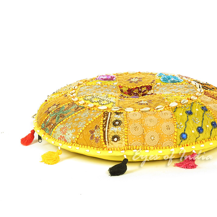 Yellow Round Decorative Seating Boho Floor Meditation Cushion Bohemian Pillow Cover with Shells - 17""