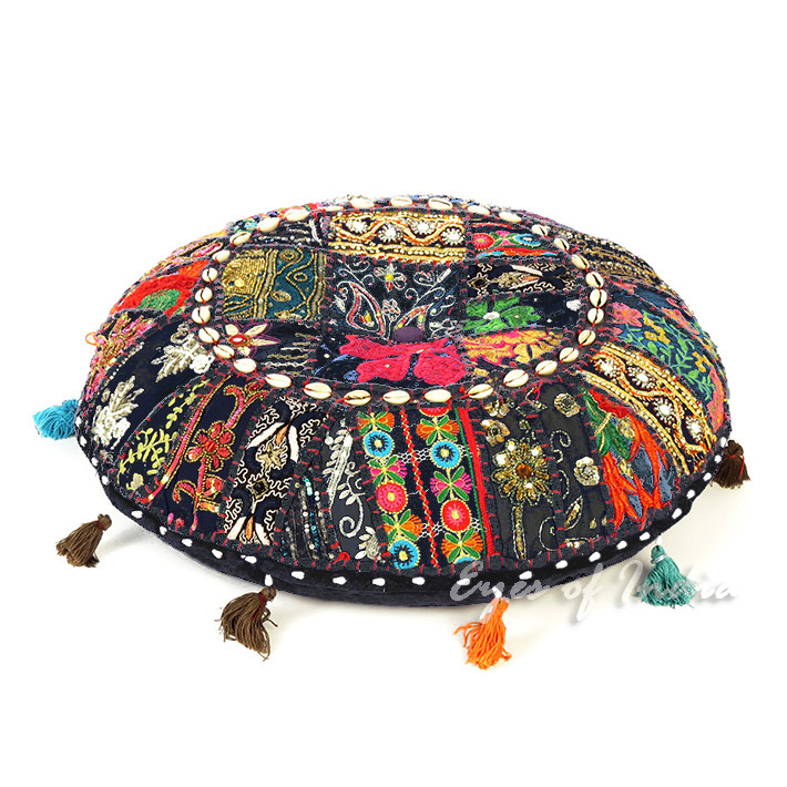 Black Boho Patchwork Round Floor Seating Pillow Bohemian Meditation Cushion Cover with Shells - 17""