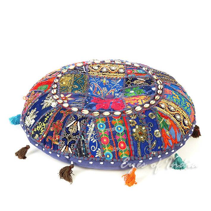 Blue Patchwork Round Boho Colorful Floor Seating Meditation Pillow Cushion Cover with Shells - 22""