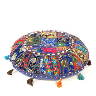"""Blue Patchwork Round Boho Colorful Floor Seating Meditation Pillow Cushion Cover with Shells - 22"""""""