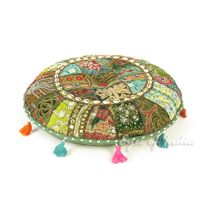Green Bohemian Round Decorative Seating Floor Meditation Cushion Boho Pillow Cover with Shells - 22""