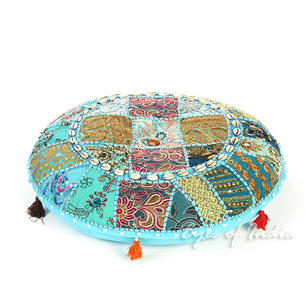 Light Blue Round Decorative Seating Bohemian Floor Cushion Meditation Pillow Cover with Shells - 22""