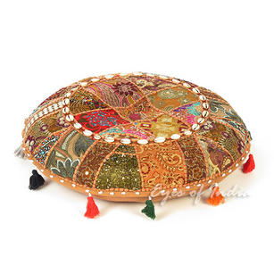 Light Brown Patchwork Round Bohemian Floor Seating Meditation Pillow Cushion Cover with Shells - 22""