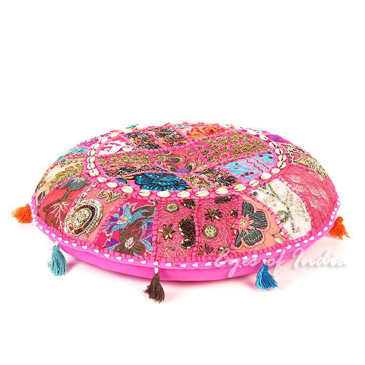 Pink Boho Patchwork Round Colorful Floor Seating Meditation Pillow Cushion Cover with Shells - 22""