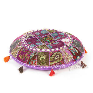 Purple Boho Bohemian Patchwork Round Floor Seating Meditation Pillow Cushion Cover with Shells - 22""