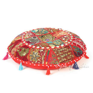 Red Boho Patchwork Round Colorful Floor Seating Meditation Pillow Cushion Cover with Shells - 22""