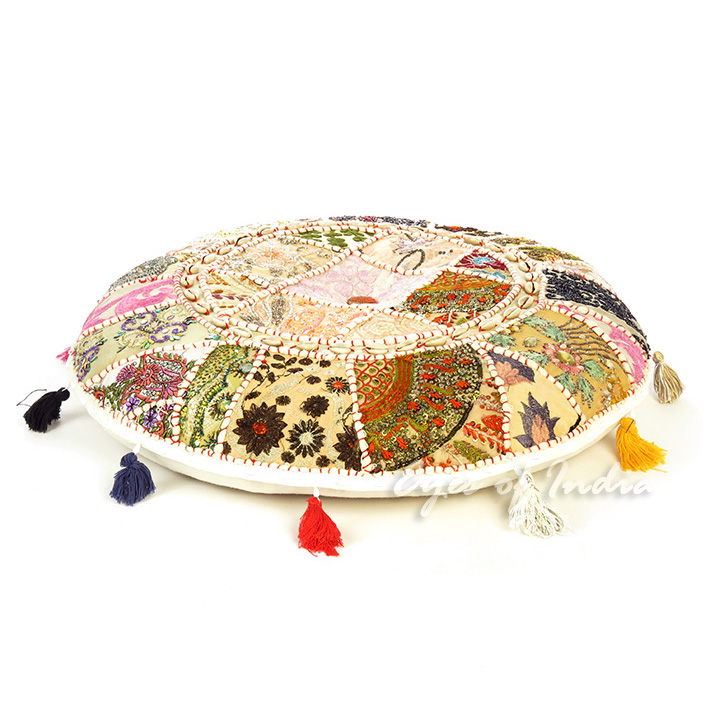 White Round Decorative Seating Boho Bohemian Floor Meditation Cushion Pillow Cover with Shells - 22""