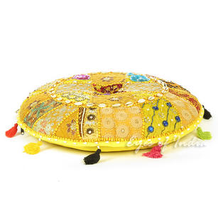 Yellow Patchwork Round Bohemian Floor Seating Pillow Meditation Cushion Throw Cover with Shells - 22""
