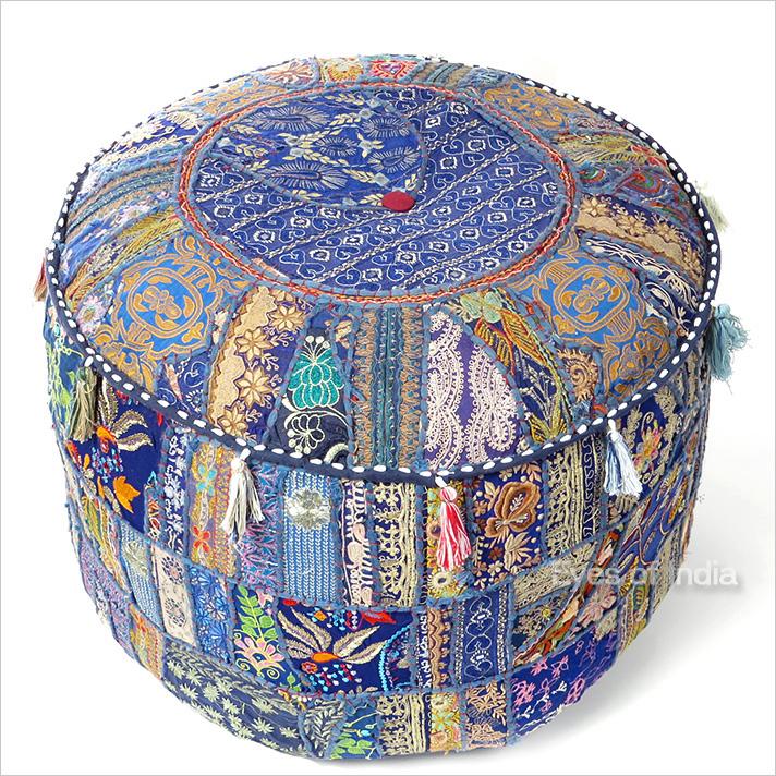 """Blue Boho Patchwork Round Pouf Pouffe Bohemian Ottoman Cover - 22 X 12"""""""